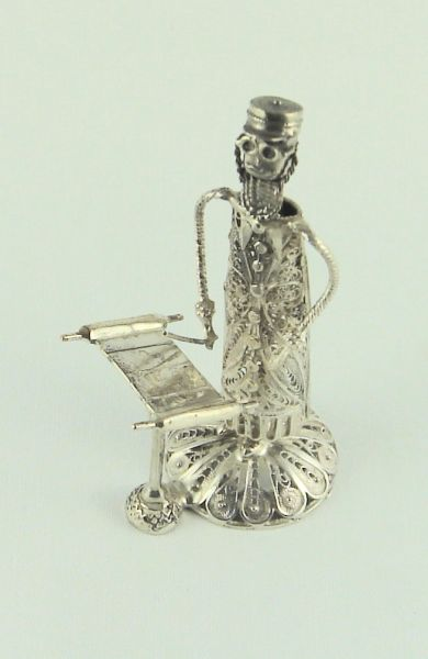 Filigree Rabbi Reading Torah Sterling Silver 3-1/2 Inches Tall, One Of A Kind - Made In Israel