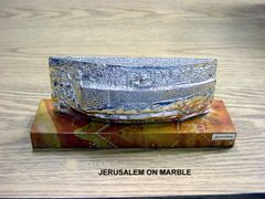 Jerusalem Wall Sculpture Marble Base And Sterling Silver, 10 Inches L X 4 Inches H X 3 Inches W, Made In Israel