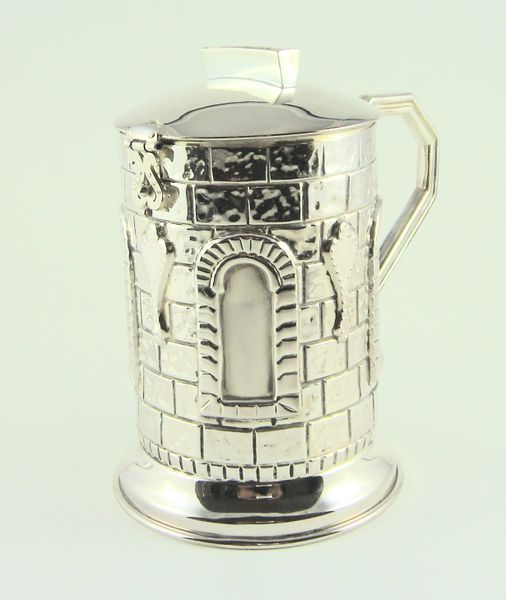 Tzedakah Box Sterling Silver - 4.5 Inches H X 3.75 Inches Diam Made In Israel