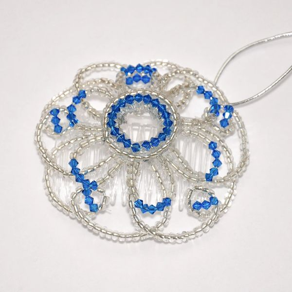 Handmade Ladies Kippah - Double Flower Glass With Swarovski Details And Other Colors Available