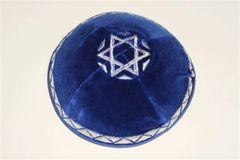 Kippah Velvet Blue With Star Of David Silver Design, Made In Israel