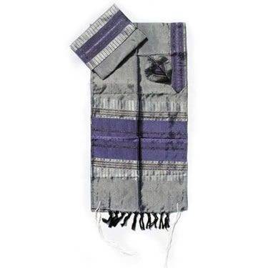 Talit Set Silk Gray/Purple 20 Inches X 72 Inches And Other Combinations Available Hand Made By Gabrieli - Made In Israel