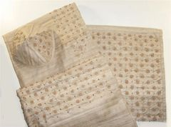 Talit Set Silk With Wood Beads Embroidered 20 Inches X 72 Inches (Talit/Bag & Kippah) Made In Israel - One Of A Kind!!!!