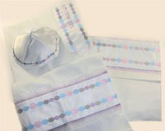 Talit Set Viscose Circles Pastel Colors 18 Inches X 72 Inches , (Talit/Bag & Kippah) Made In Israel