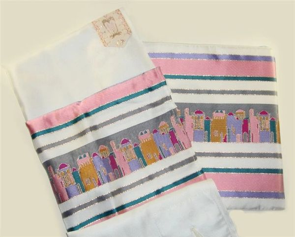 Talit W/Matching Talit Bag Jerusalem Pastel Colors In Polyester Talit: 18 Inches X 72 Inches Bag: 11.5 Inches X 10 Inches Includes Matching Handpainted Kippah - Made In Israel