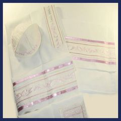 Talit Set Viscose Pink Shades Leaves 18 Inches X 72 Inches (Talit/Bag & Kippah) Made In Israel