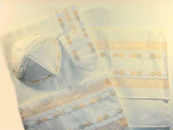 Talit Set Viscose Circles Cream/Gold Colors 18 Inches X 72 Inches , (Talit/Bag & Kippah) Made In Israel