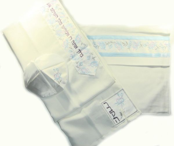 Talit Set Matriarch Blues W/Hearts Design (Talit/Bag & Kipah) 18 Inches X 72 Inches - Made In Israel