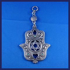 Wall Hanging Pewter Chamsah With Star Of David Design W/Blue And Green Stones 6 Inches Long X 3 Inches Widest Part, Made In Israel