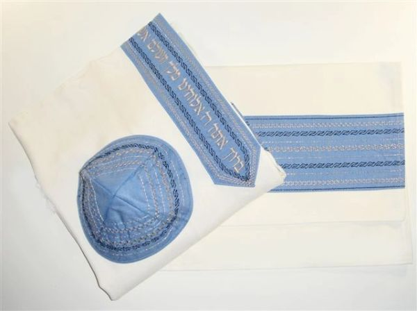 Talit Set Viscose Blue 20 Inches X 72 Inches Made In Israel