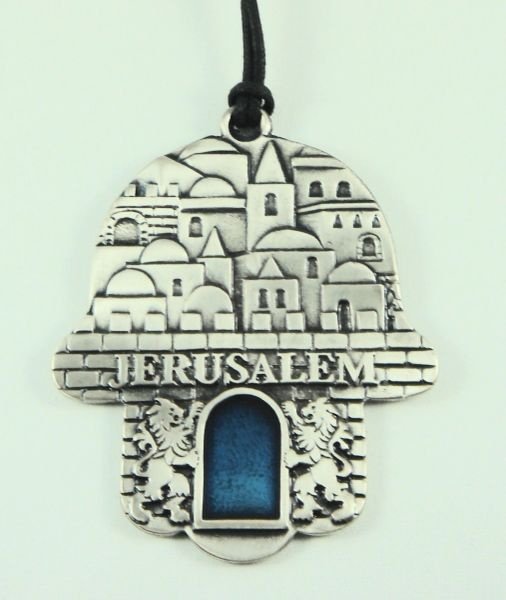 Wall Hanging Chamsah Pewter Jerusalem Design, Made In Israel 3.5 Inches X 2.875 Inches
