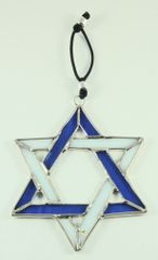 Wall Hanging Star Of David Stained Glass, 4 Inches X 4 Inches