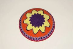 Kippah Hand Crochet Multi Colors Large