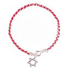 Sterling Silver Bracelet With Red String And Star Of David Charm Or Evil Eye