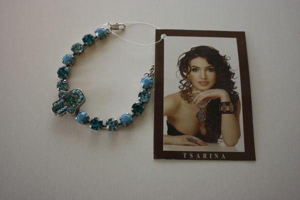 Tsarina Hamsah Braceletet Handmade W/Unique Turqouise Crystals Stones - Made In Israel