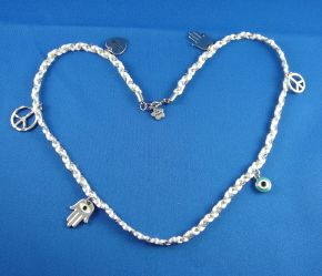 Bracelet/Necklace White With Silver Charms, 24 Inches Long