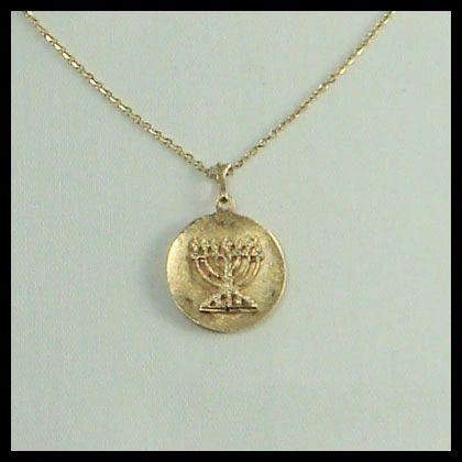 """Charm Menorah Medallion 3/4"""" Diam, 14 Kt Chain Sold Separately"""