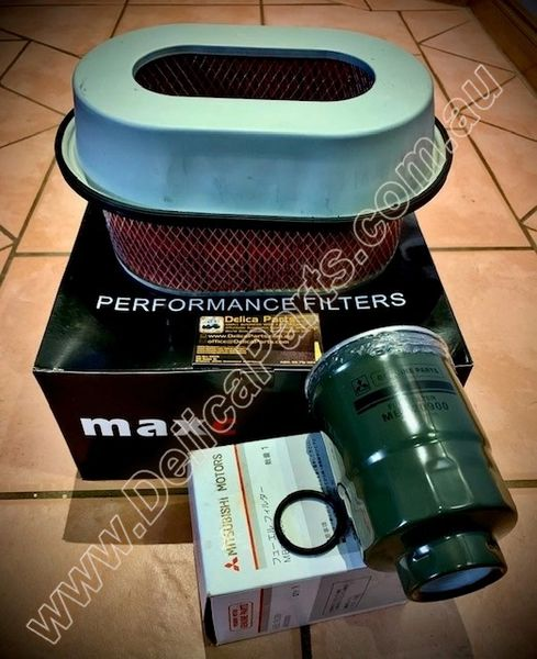 COMBO DEAL, F-2, (Air Filter + Fuel Filter for Diesel Mitsubishi Delica, 4M40, 2.8L)