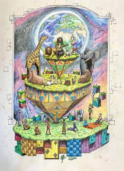 """Song of World Peace"" Original Drawing by Walden Benjamin"