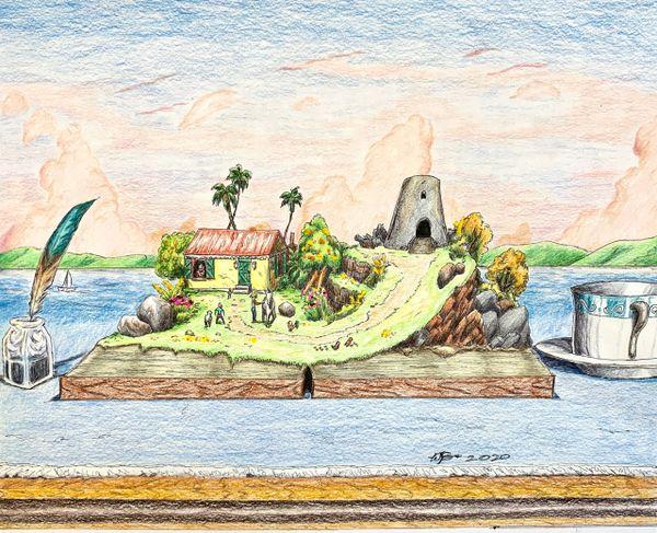 """Caribbean Story"" Original Drawing by Walden Benjamin"