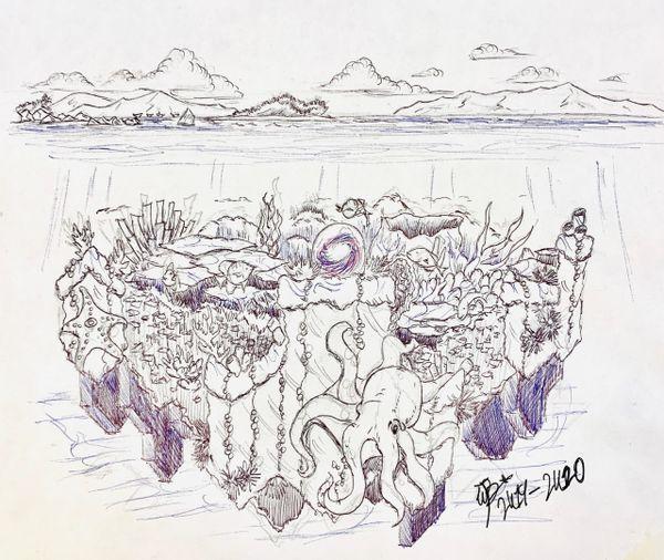 """Coral Infinity"" Original Drawing by Walden Benjamin"