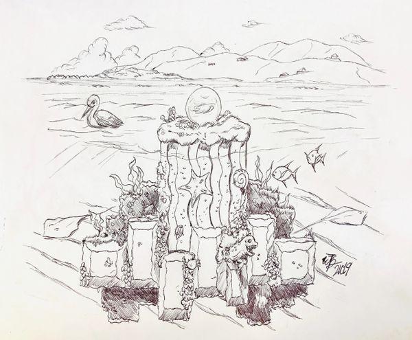 """""""Memories of Beef Island"""" Original Drawing by Walden Benjamin"""