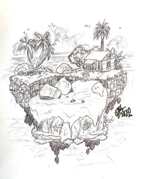 """Tropical Home"" Original Drawing by Walden Benjamin"
