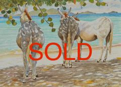DONKEYS ON THE BEACH ***SOLD***
