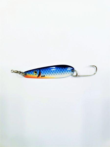 "1505-2121 McOmie's 2 3/8"" Trout/Kokanee Spoon Vibrant UV ""Blue Shiner"""