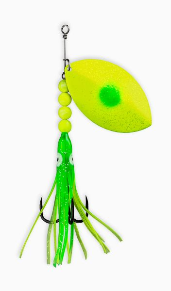 "#1110-0100 McOmie's 7.0 Cascade Spinner UV ""Green Dot/Chartreuse"" w/Hoochie"