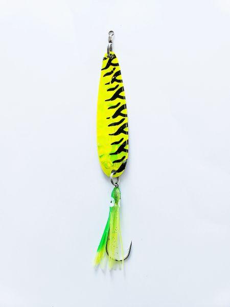 """#0596-1550 McOmie's 3 7/8"""" Salmon Glow Spoon """"Chartreuse Tiger Prawn"""" w/Hoochie"""