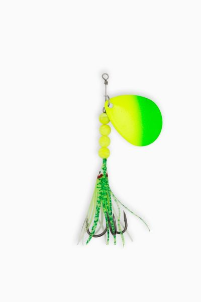 "#0409-1400 McOmie's #7 Colorado Spinner UV ""Green/Chartreuse"" w/Hoochie"