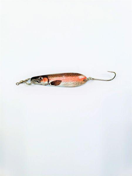 """1400-2020 McOmie's 2 3/8"""" Trout/Kokanee Spoon RB UV """"Rainbow"""""""