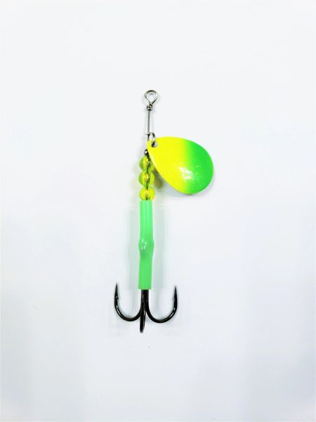"#1225-2200 McOmie's #3.5 Colorado UV Spinner ""Green/Chartreuse"" (Lemon/Lime))"