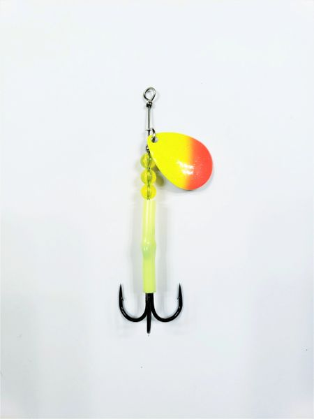 "#1223-2200 McOmie's #3.5 Colorado UV Spinner ""Orange Roe/Chartreuse"" (Tequila Sunrise)"