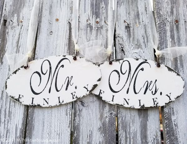Rustic Wedding Signs.Personalized Mr And Mrs Wedding Signs Rustic Wedding Signs Wedding Chair Decor Oval Wooden Wedding Signs Engagement Gift For Couples Ch 38