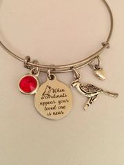 Cardinal Memory Bangle -stainless steel and silver tone charms