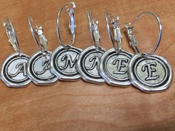 Antiqued Seal Design Initial Earrings