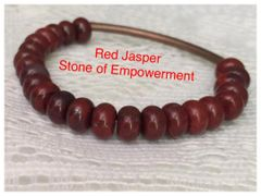 Red Jasper, Crazy Lace Agate and Coral Fossil Stretch Bracelets