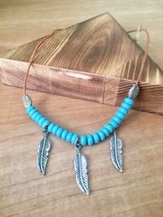 Feather Cord Necklace with Turquoise