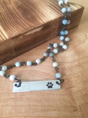 Stainless Steel Paw Bar Necklace with Amazonite Chain