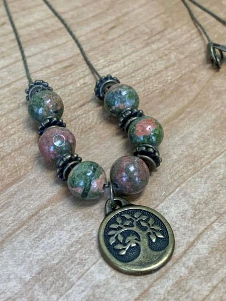Unakite Tree of Life Necklace