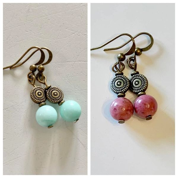 Amazonite or Rhodonite Earrings