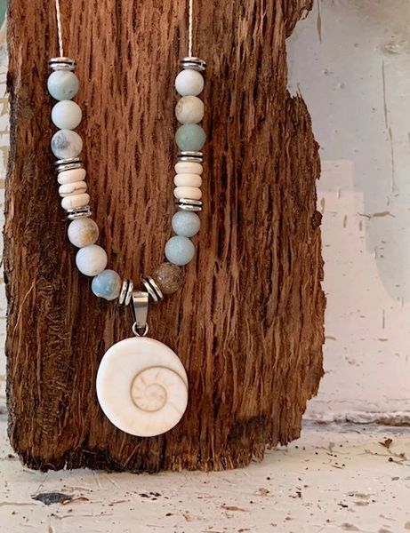 Shiva Shell Amazonite Necklace - 18 inches