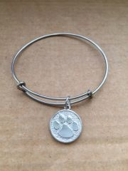 Paw Charm  Bangle With 2 Accent Charms Of Your Choice