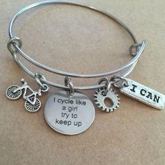 I Cycle Like A Girl Try To Keep Up Bangle