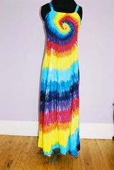 Rainbow Spiral Dress Ribbon Strap Long