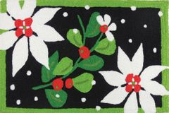 Poinsettias and Mistletoe Jellybean Rug