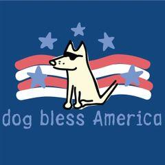 Dog Bless America Ladies V-neck T-shirt