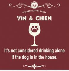 Vin and Chien - Burgundy (Ladies V-neck MEDIUM)